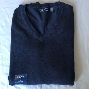 NWOT Men's Izod Pullover Sweater, Navy Blue, Large